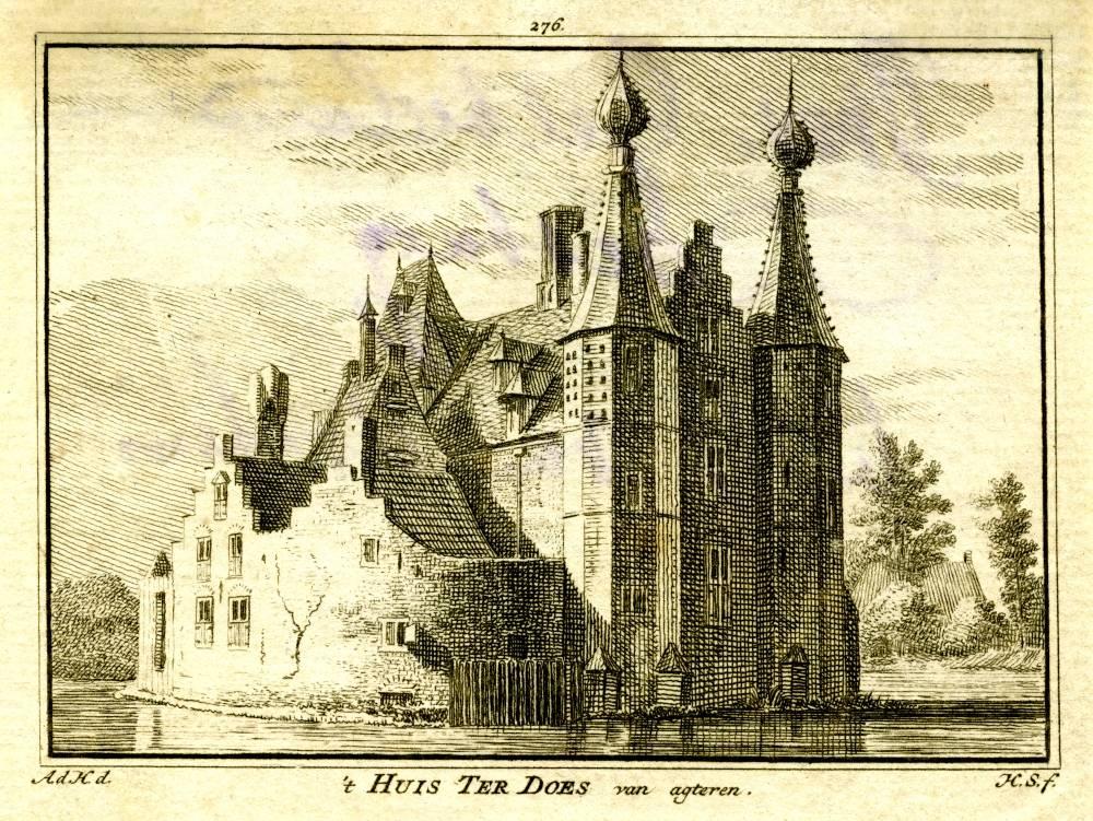 Huis ter Does in Leiden. Tekening Abraham de Haen, gravure Hendrik Spilman (Uit: Het Verheerlykt Nederland, Isaac Tirion, 1745/1774)